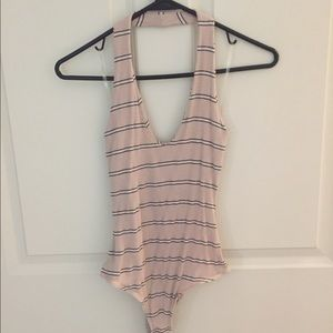 Pacsun LA Hearts striped halter bodysuit